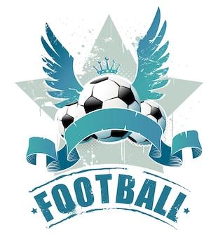 Insignia de fútbol retro con alas