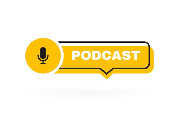 Insignia geométrica de podcast con micrófono.
