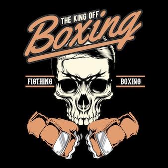 Insignia de gimnasio de cráneo de boxeo