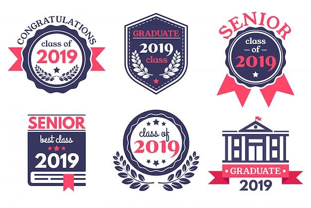 Insignia de graduado de la escuela superior. emblema del día de graduación, insignias de felicitaciones de graduados y emblemas de educación conjunto de ilustración vectorial