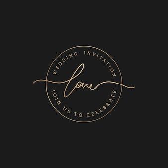 Insignia de invitación de boda amor círculo elegante dorado