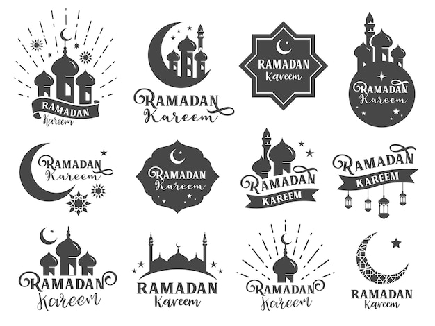 Insignia islámica de la etiqueta engomada de ramadan.
