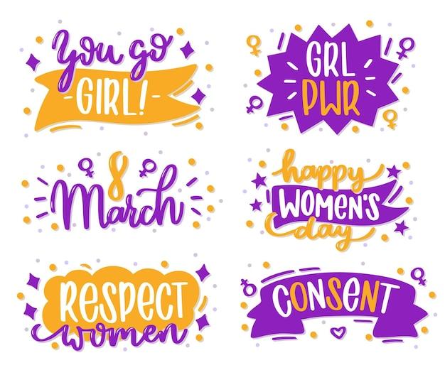 Insignia de letras del día internacional de la mujer dibujada a mano