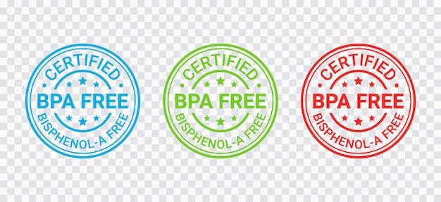 Insignia libre de bpa, sello. etiqueta de plástico no tóxico. emblema de envases ecológicos. ilustración vectorial.