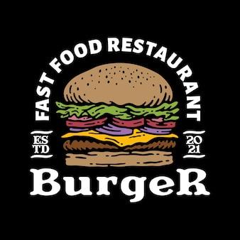 Insignia del logo de hamburguesa en vintage