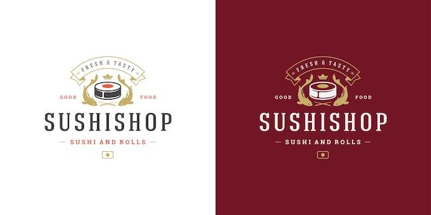 Insignia y logo de sushi restaurante de comida japonesa.