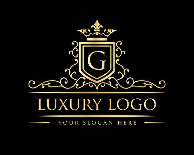 Insignia de logotipo antiguo de lujo royal vintage, letra g