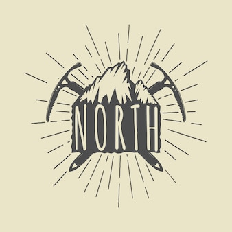 Insignia de logotipo de aventura o deporte vintage, emblema con lema de motivación. ilustración
