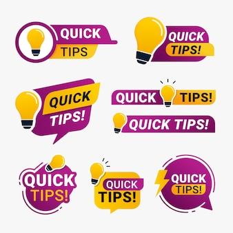 Insignia de logotipo de consejos rápidos con icono de bombilla amarilla