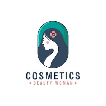 La insignia del logotipo creativo del símbolo de la mujer de belleza se puede utilizar en cosméticos, salón, spa, cuidado de la piel