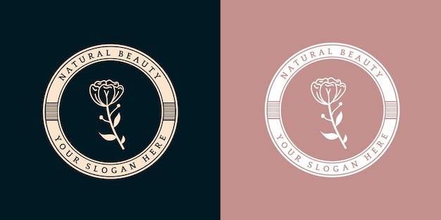 Insignia de logotipo floral y femenino dibujado a mano r