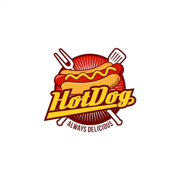 Insignia del logotipo de hot dog