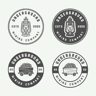 Insignia de logotipo de minería o construcción