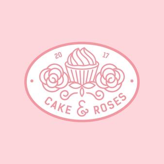 Insignia del logotipo del monocrest de la torta y de las rosas