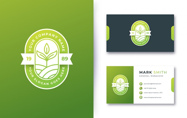 Insignia de logotipo de naturaleza con tarjeta de visita