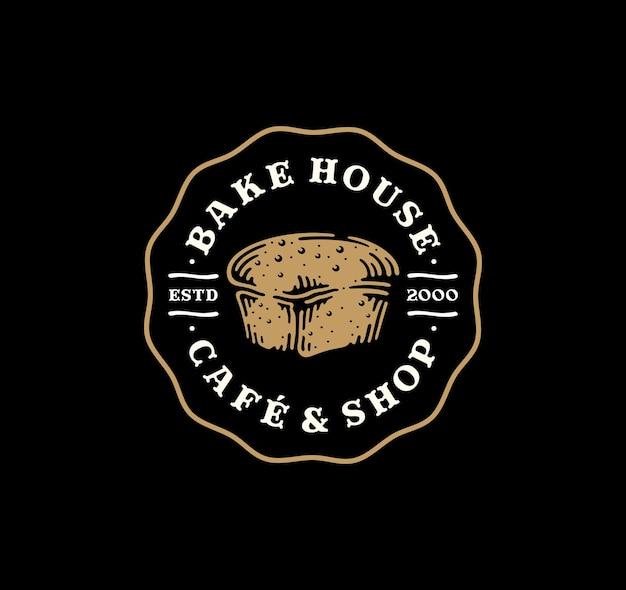 Insignia del logotipo de pan de molde en diseño vintage.