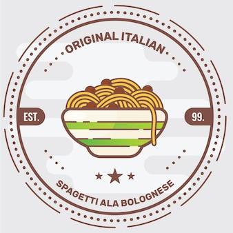 Insignia de logotipo de pasta italiana