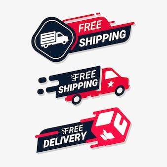 Insignia de logotipo de servicio de entrega de envío gratuito