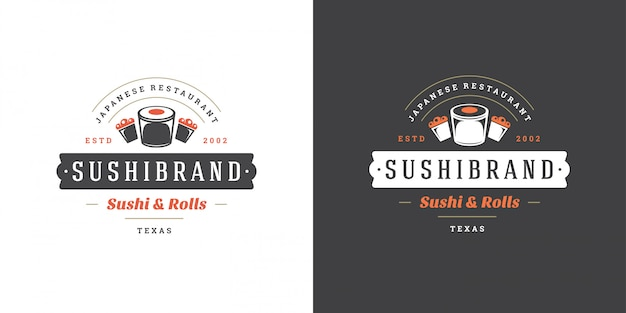 Insignia y logotipo de sushi restaurante de comida japonesa con sushi salmón roll cocina asiática silueta vector