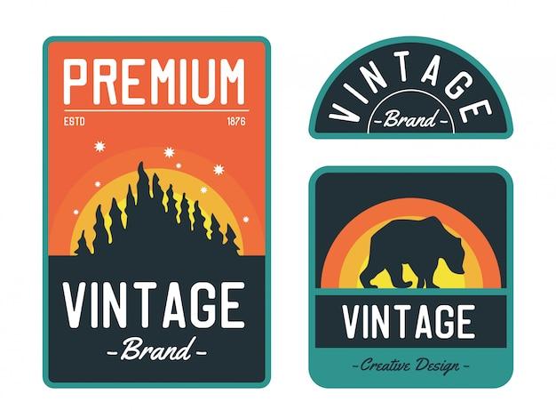 Insignia de logotipo vintage, conjunto de logotipo de expedición forestal, motivo de oso en concepto de logotipo.