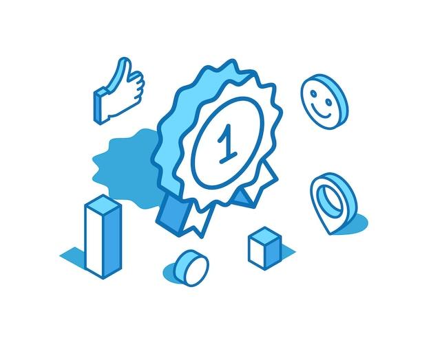 Insignia de logro, línea azul, ilustración isométrica, premio de recompensa, plantilla de banner 3d