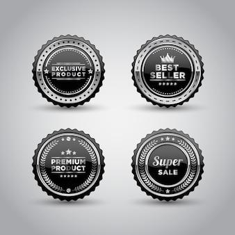 Insignia de metal plateado y plantilla de producto de etiqueta