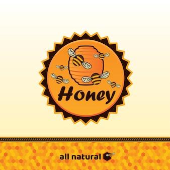 Insignia de miel y etiqueta.