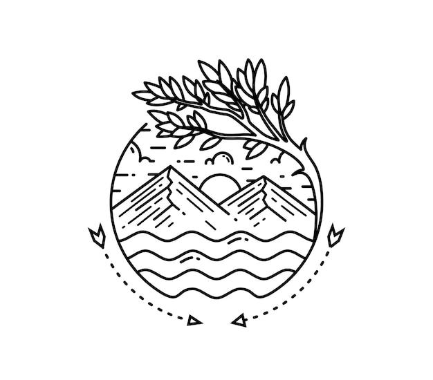 Insignia de monoline de paisaje de árbol de montaña