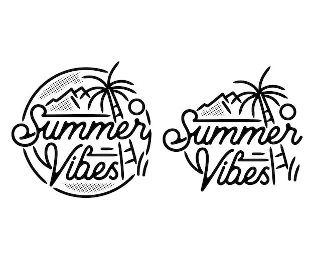 Insignia monoline de playa de verano y vacaciones, ilustración de logotipo