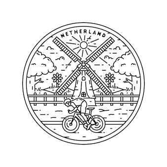 Insignia de monoline vintage del logotipo de netherland