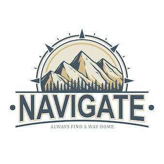 Insignia de montaña, lista para usar como logotipo, fácil de cambiar de color y texto