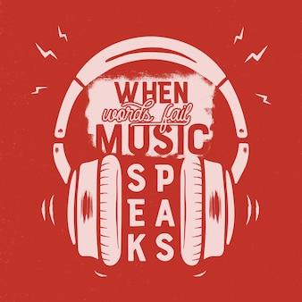Insignia de música vintage en estilo retro con auriculares y texto.