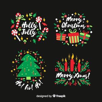 Insignia de navidad dibujada a mano sobre fondo negro