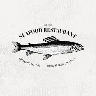 Insignia del negocio del logotipo del pescado del vector del restaurante de mariscos del vintage