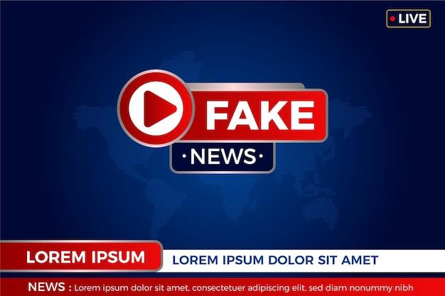 Insignia de noticias falsas sobre el mapa mundial