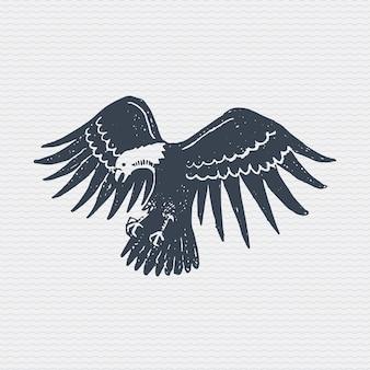 Insignia o insignia antigua vintage, etiqueta grabada y estilo antiguo dibujado a mano con águila calva salvaje