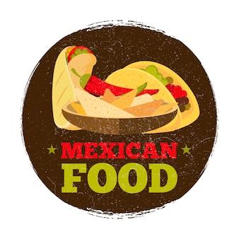 Insignia o insignia de comida mexicana grunge