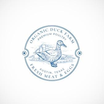 Insignia o logotipo retro enmarcado de granja de pato orgánico