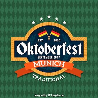 Insignia del oktoberfest con diseño plano