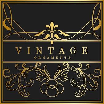 Insignia de oro del art nouveau del vintage