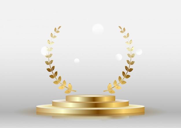La insignia de oro brillante premia con una corona de laurel con un podio.