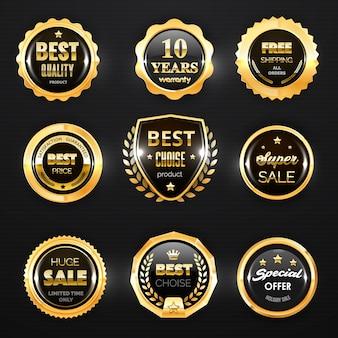Insignia de oro, etiqueta y sello de sello. medallas de primera calidad, mejor elección y precio, oferta especial de venta y certificado de garantía, emblemas comerciales y escudo, diseño de promoción.