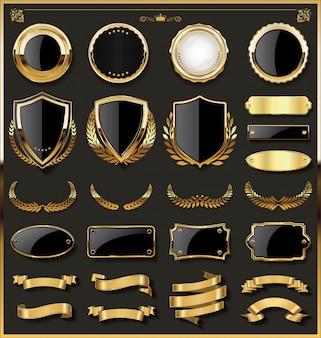Insignia de oro de lujo y colección de elementos de diseño de etiquetas.