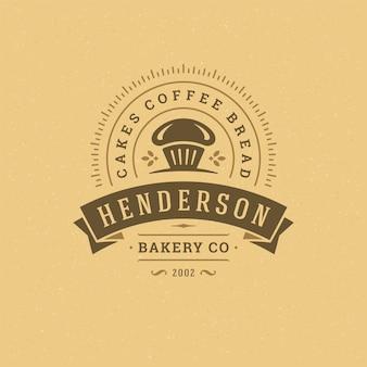 Insignia de panadería o etiqueta ilustración retro cupcake y siluetas de trigo para panadería