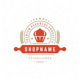 Insignia de panadería o etiqueta de ilustración retro cupcake símbolo para panadería