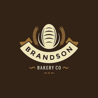Insignia de panadería o etiqueta retro ilustración. silueta de pan o pan para panadería.
