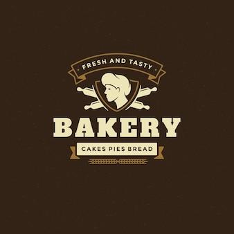 Insignia de panadería o etiqueta retro ilustración