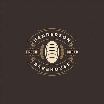 Insignia de panadería o etiqueta retro vector ilustración pan o pan silueta para panadería.