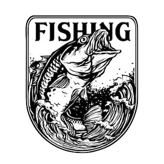 Insignia de pez lubina o pargo rojo para el logotipo de la insignia del torneo de pesca
