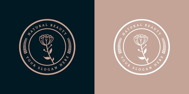 Insignia de plantilla de logotipo floral real de lujo femenina dibujada a mano adecuada para hotel restaurante cafetería cafetería spa salón de belleza boutique de lujo cosmética y decoración de negocios